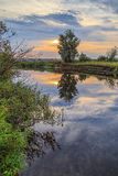 Sunset over small river in central Russia Stock Photo