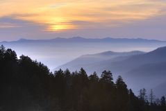 Sunset Over Smoky Mountains Royalty Free Stock Images