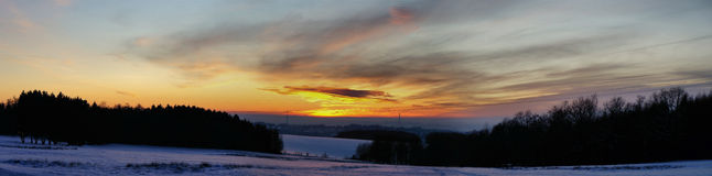 Sunset over the snowy Erzgebirge Stock Photos