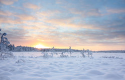 Free Sunset Over Snowy Lake Stock Image - 52401901