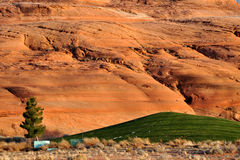 Sunset over Snowy Lake Powell Natl Goft Course Stock Image