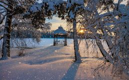Sunset over a snowy Park. Sunset over a snowy lake and Park Royalty Free Stock Photography
