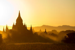 Sunset over  some Temples in Bagan, Myanmar Stock Photo