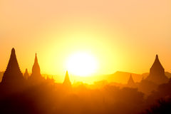Sunset over  some Temples in Bagan, Myanmar Royalty Free Stock Photos
