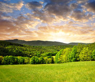 Sunset over the spring landscape Royalty Free Stock Images