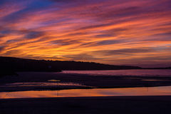 Sunset 04. The sunset over St ives from Hayle in Cornwall Royalty Free Stock Images