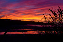 Sunset. The sunset over St ives from Hayle in Cornwall Stock Image