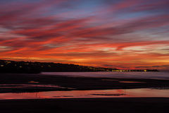 Sunset. The sunset over St ives from Hayle in Cornwall Royalty Free Stock Photos