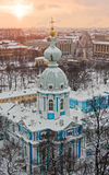 Sunset over St. Petersburg. View of St. Petersburg from Smolny church, Russia Stock Photos