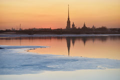 Sunset over St. Petersburg in springtime Stock Images