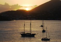 Sunset Over St.Thomas Island Royalty Free Stock Photo