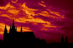 Sunset over St.Vitus Cathedral Stock Photography