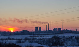 Sunset over Steel mill Stock Images