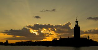 Sunset over Stockholm. Sunset over town hall Stockhom Sweden, stockholm by night, skyline stockhom stock photo