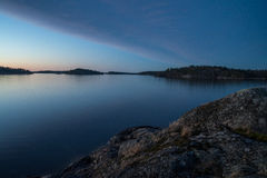 Sunset over Stockholm Archipelago. Calm evening with sunset in Stockholm Archipelago royalty free stock images