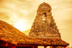 Sunset over Stone Tower of Castillo in Cartagena Stock Photo