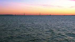 Sunset over Straits of Mackinac stock footage