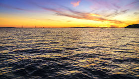 Sunset over Straits of Mackinac Royalty Free Stock Photos