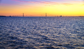Sunset over Straits of Mackinac Royalty Free Stock Photography