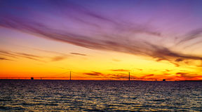 Sunset over Straits of Mackinac Stock Image