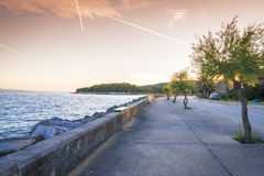Sunset over Sucuraj on Hvar island, Croatia Royalty Free Stock Photos
