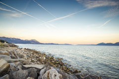 Sunset over Sucuraj on Hvar island, Croatia Stock Photography