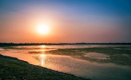 End of the day. Sunset over the Sukhna Lake, Chandigarh, India Royalty Free Stock Photos