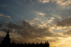 Sunset over sukiennice in krakow Royalty Free Stock Image