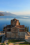 Sunset over Sveti (Saint) Jovan Kaneo Church on Lake Ohrid Royalty Free Stock Image