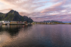 Sunset over Svolvaer village in Norway Royalty Free Stock Photo