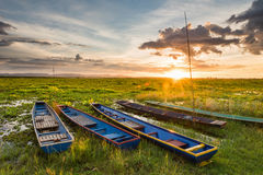 Sunset over swamp with wooden old boats Royalty Free Stock Photography