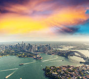 Sunset over Sydney Harbour, helicopter view Stock Photo