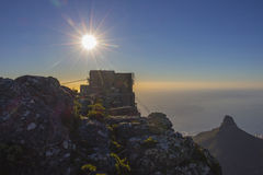 Sunset over the Table Mountain cable car station Royalty Free Stock Photography