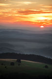 Sunset over Table Mountains National Park in Poland Royalty Free Stock Images