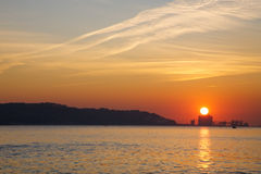 Sunset over Tagus river Royalty Free Stock Images