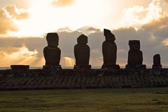 Sunset over Tahai moai, Easter Island Royalty Free Stock Photography