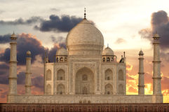 Sunset over Taj Mahal mausoleum Stock Photography