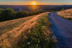 Sunset over the Tarn river. In France Royalty Free Stock Image
