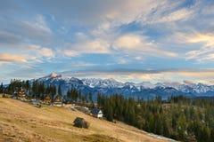 Sunset over Tatra Mountains stock photography