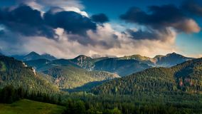 Sunset over the Tatra Mountains in summer stock footage