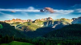 Sunset over Tatra mountains view from Zakopane stock video