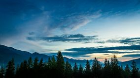 Sunset over Tatra mountains view from Zakopane stock footage