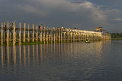 Sunset over teak bridge. U bein bridge at sunset Amarapura ,Mandalay, Myanmar Royalty Free Stock Images