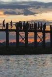 Sunset over teak bridge. U bein bridge at sunset Amarapura ,Mandalay, Myanmar Royalty Free Stock Image