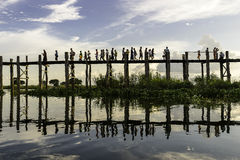 Sunset over teak bridge. U bein bridge at sunset Amarapura ,Mandalay, Myanmar Royalty Free Stock Photography