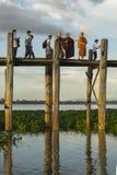 Sunset over teak bridge. U bein bridge at sunset Amarapura ,Mandalay, Myanmar Stock Photos