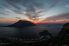 Sunset over the Telendos Island Royalty Free Stock Images
