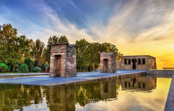Sunset over the The Temple of Debod in Madrid, Spain Royalty Free Stock Photo