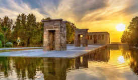 Sunset over the The Temple of Debod in Madrid, Spain Stock Photo