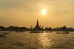 Sunset over the temple, Wat Arun on the bank of the Chao Phraya, Bangkok. Stock Image